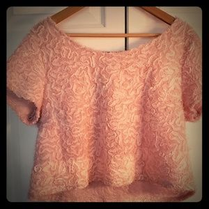 DOUBLE ZERO Pink Ruffle Crop Top in US Size Large